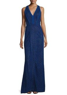 J. Mendel Sleeveless V-Neck Lace-Overlay Gown