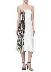J. Mendel Strapless Contrast-Side Pleated Dress