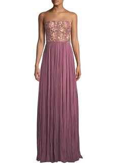 J. Mendel Strapless Floral-Embroidered Pleated Gown