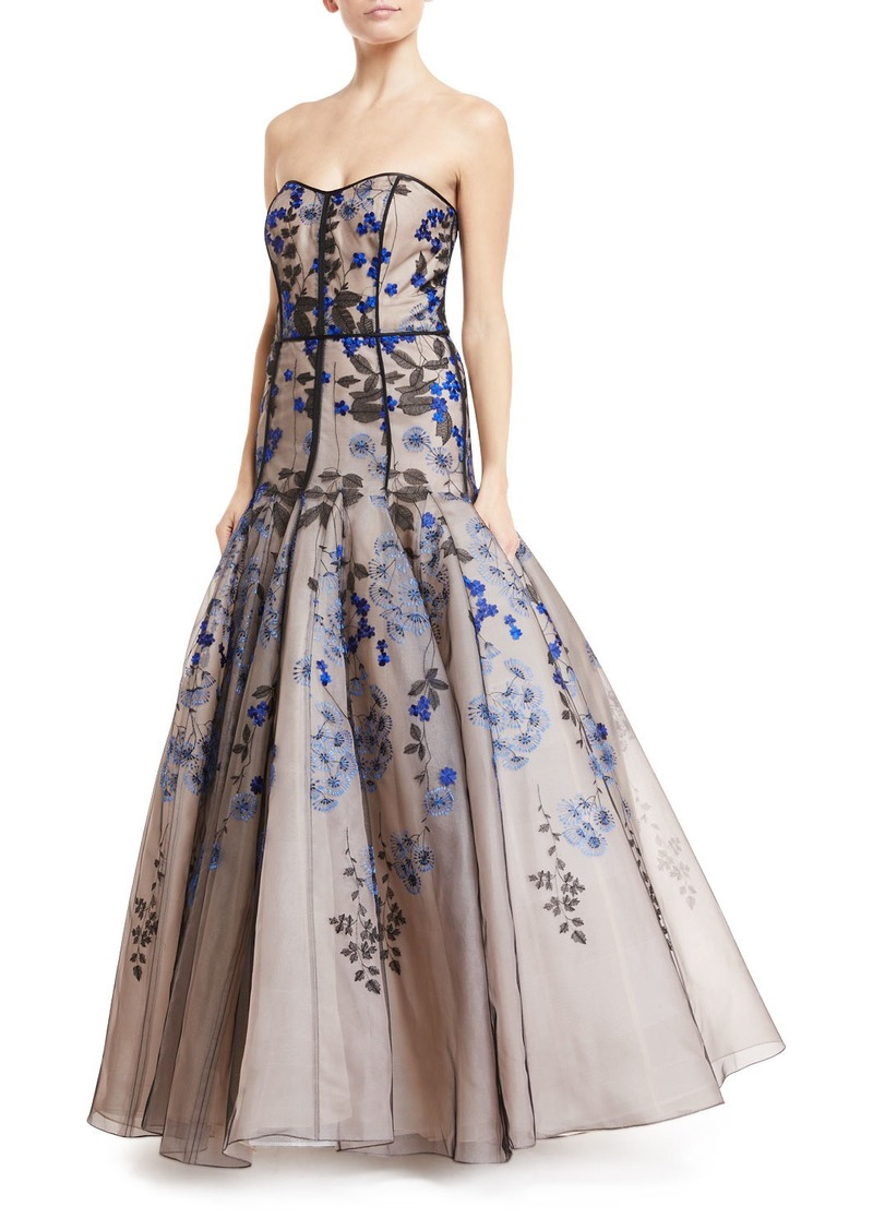 J. Mendel J. Mendel Strapless Floral-Embroidered Tulle Gown Now ...
