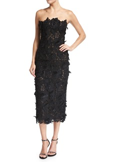 J. Mendel Strapless Guipure Lace Cocktail Dress