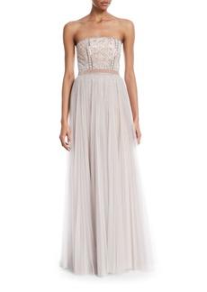 J. Mendel Strapless Paillette-Embellished Column Gown w/Overskirt