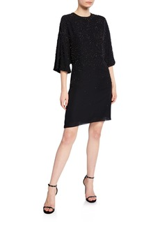 J. Mendel Beaded 3/4-Sleeve Short Cocktail Dress