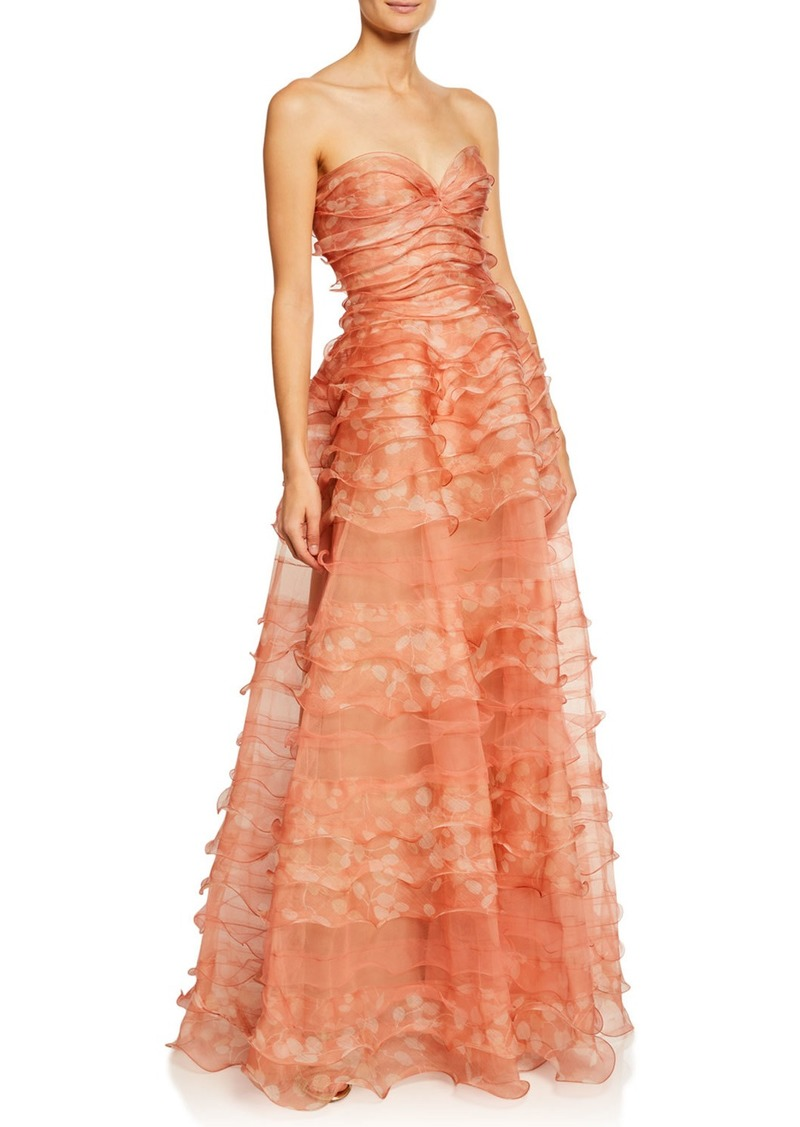 J. Mendel Strapless Ruffle-Tiered Organza Gown