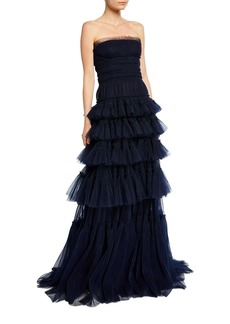 J. Mendel Strapless Ruffled Gown
