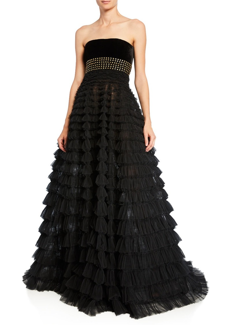 J. Mendel Strapless Studded Tiered Tulle Gown