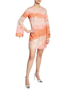 J. Mendel Striped Lace Bell-Sleeve Mini Dress