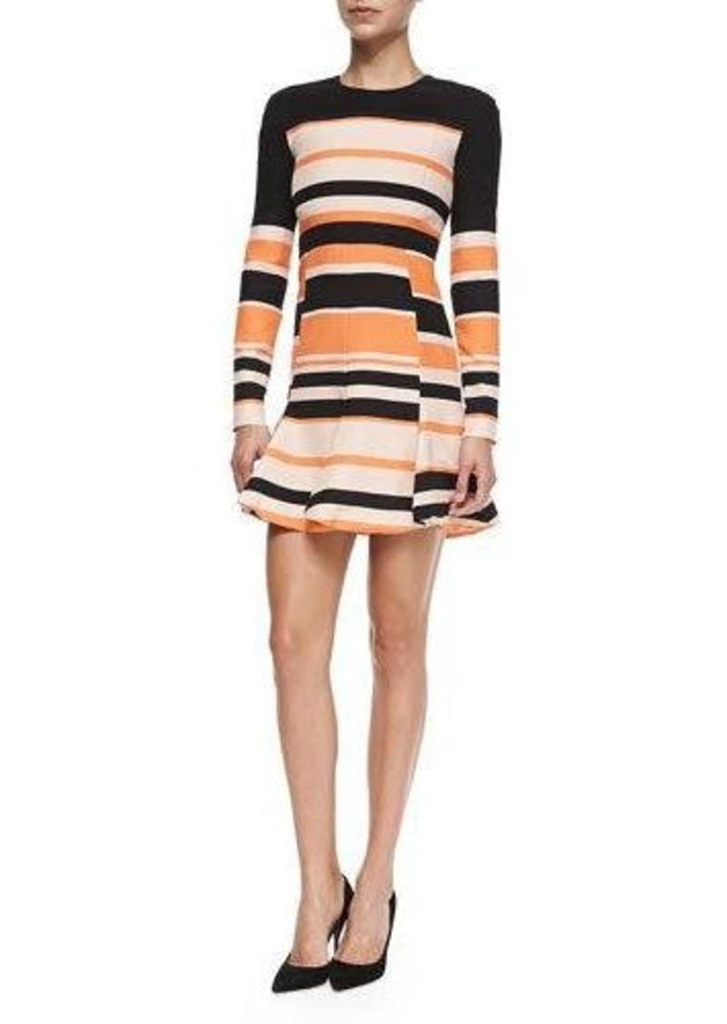 J. Mendel Striped Long-Sleeve Pleated Skirt Dress