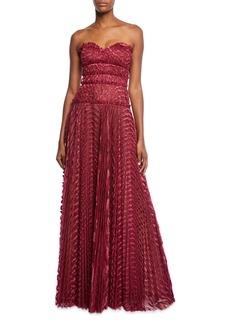 J. Mendel Sweetheart Strapless Pleated Gown