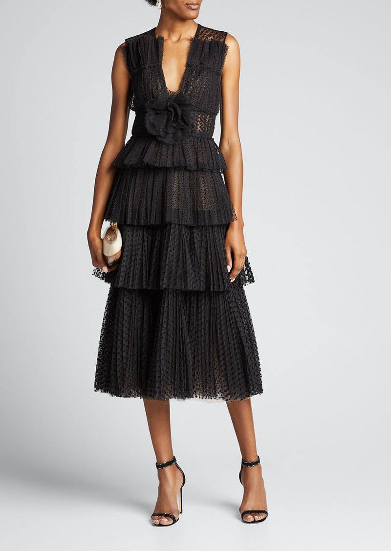 J. Mendel Tiered Dotted-Tulle Cocktail Dress