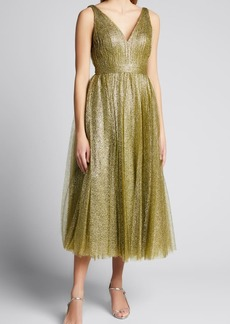 J. Mendel Tulle Pleated Midi Dress