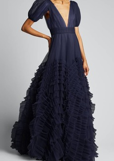 J. Mendel Tulle Puff-Sleeve Ball Gown