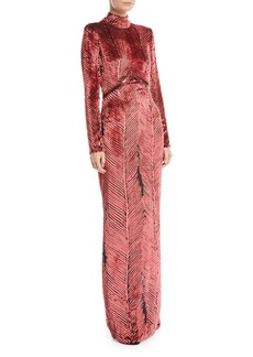 J. Mendel Turtleneck Long-Sleeve Chevron Velvet Burnout Evening Gown