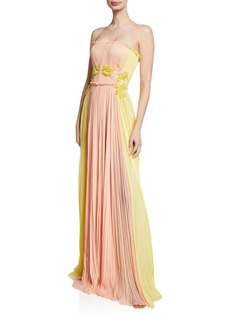 J. Mendel Two-Tone Floral Embroidered Gown