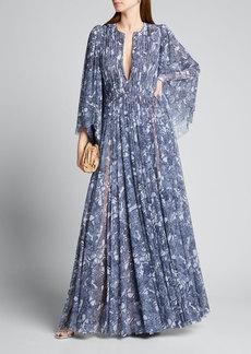 J. Mendel V-Neck Floral-Print Pleated Gown