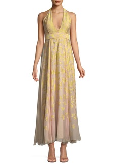 J. Mendel V-Neck Halter Sleeveless Silk Jacquard Gown