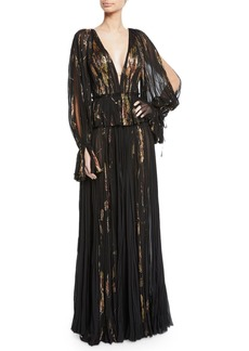 J. Mendel V-Neck Metallic-Floral Slit-Sleeve Gown