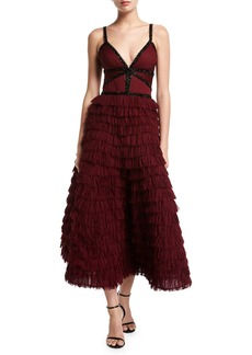 J. Mendel V-Neck Tiered Ruffle Gown