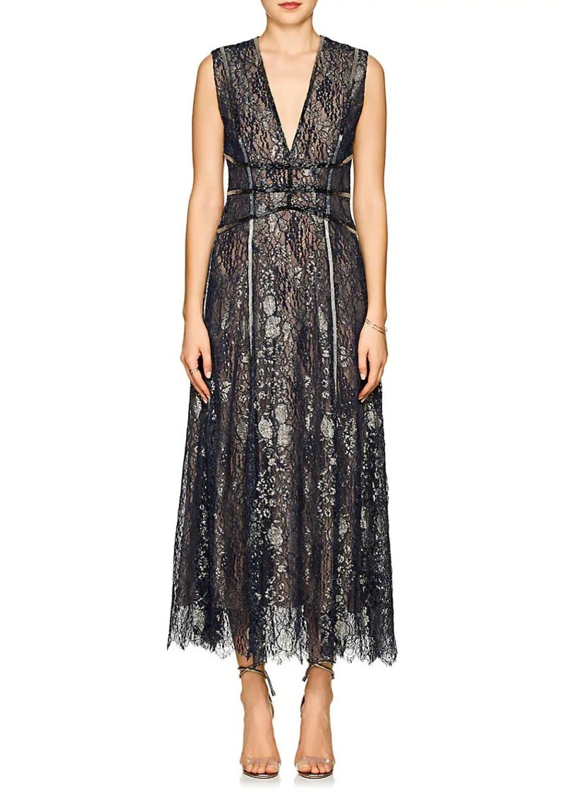 J. Mendel Women's Beaded Metallic Lace Cocktail Gown