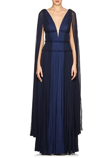J. Mendel Women's Cape-Sleeve Silk Plissé Gown