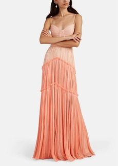 J. Mendel Women's Colorblocked Silk Plissé Cocktail Gown
