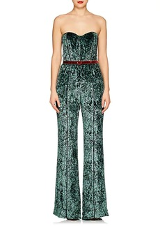 J. Mendel Women's Crushed Velvet Strapless Wide-Leg Jumpsuit