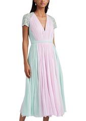 J. Mendel Women's Embellished Colorblocked Silk Plissé Cocktail Dress