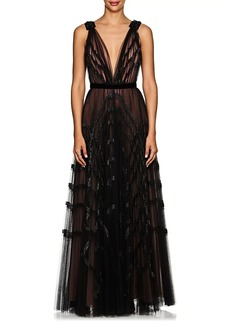 J. Mendel Women's Embellished Pleated Tulle Gown