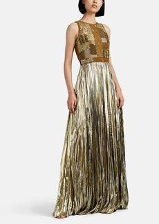 J. Mendel Women's Embellished Plissé Lamé Gown