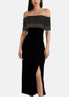 J. Mendel Women's Embellished Velvet Off-The-Shoulder Gown