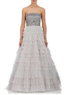 J. Mendel Women's Embroidered Tiered-Tulle Ball Gown