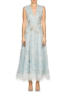 J. Mendel Women's Feather-Trimmed Beaded Silk Cocktail Dress