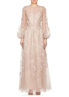 J. Mendel Women's Floral-Embroidered Silk Tulle Gown