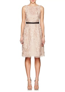 J. Mendel Women's Floral-Embroidered Tulle Belted Cocktail Dress