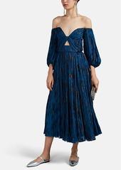 J. Mendel Women's Metallic-Floral Plissé Chiffon Off-The-Shoulder Dress