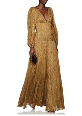 J. Mendel Women's Metallic-Weave Silk Plissé Gown