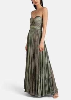 J. Mendel Women's Plissé Lamé Strapless Gown