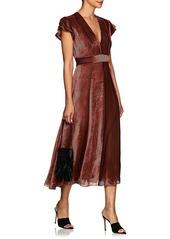 J. Mendel Women's Striped Devoré Velvet Midi-Dress