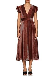 J. Mendel Women's Striped Devoré Velvet Midi-Dress