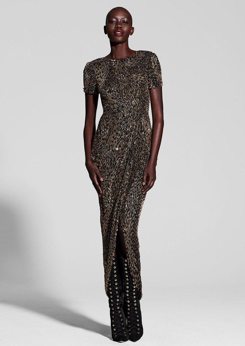 J. Mendel Metallic Beaded Short-Sleeve Gown  Multi