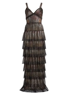 J. Mendel Metallic Tiered Ruffle Gown
