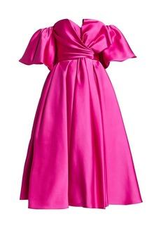J. Mendel Off-The-Shoulder Silk Bow Cocktail Dress