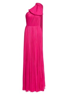 J. Mendel One-Shoulder Puff Bow Pleated Silk Gown