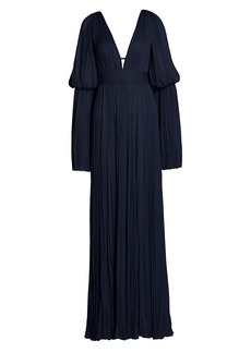 J. Mendel Tiered Flare-Sleeve Chiffon Silk Gown