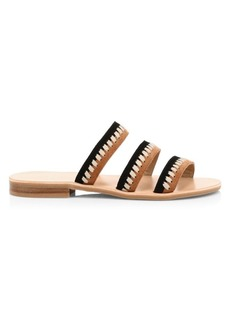 Jack Rogers Amelia Suede Two-Tone Braid Strap Sandals