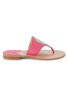 Jack Rogers Cancer Leather Thong Sandals