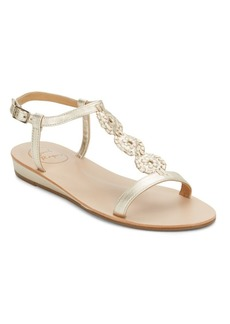 Jack Rogers Eve Patent Leather & Leather T-Strap Sandals