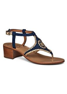 Jack Rogers Elise Embroidered Denim Sandals