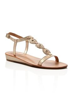 Jack Rogers Eve T-Strap Metallic Heel Low Wedge Sandals