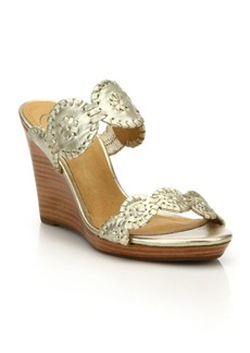 Jack Rogers Luccia Metallic Leather Wedge Sandals